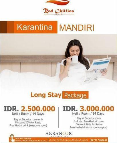 Red Chilies Hotel - Paket Karantina Mandiri Long Stay Package (25723207) di Kota Surakarta