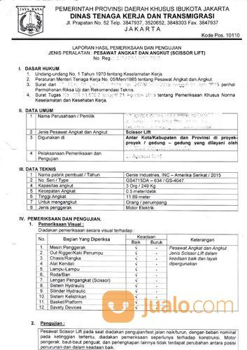 . Jasa Pengurusan Dan Perpanjangan Surat Izin Layak Operasi Scissor Lift Disnaker (25817019) di Kota Bekasi