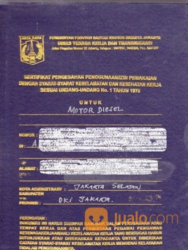 Kepengurusan Sertifikasi Izin Layak Operasi Motor Diesel Genset (25817991) di Kota Bekasi