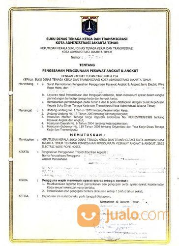 Jasa Kepengurusan Izin Alat Crane Electric Hoist Disnaker Provinsi (25818159) di Kota Bekasi