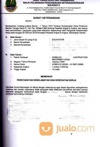 Jasa Kepengurusan Sertifikasi Surat Izin Layak Operasi Alat Excavator Beko (25818251) di Kota Bekasi