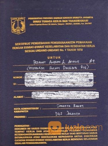 Kepengurusan Surat Izin Layak Operasi Jenis Hydraulic Rotary Drilling Atau Drilling Rig (25818283) di Kota Bekasi