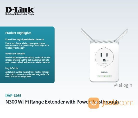 D-LINK N300 Wi-Fi Range Extender With Power Passthrough DAP-1365. Murah (25823279) di Kota Denpasar