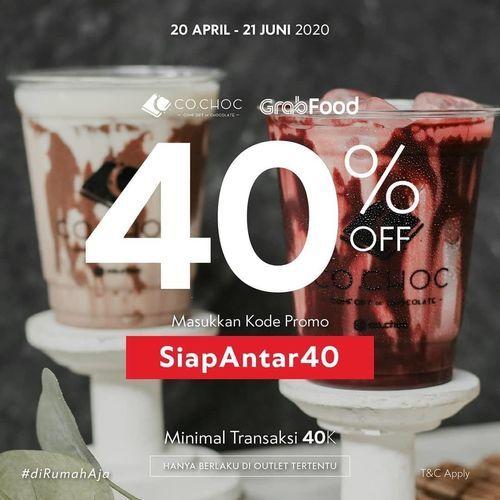 CO.CHOC Diskon 40% Grabfood (25861043) di Kota Jakarta Selatan