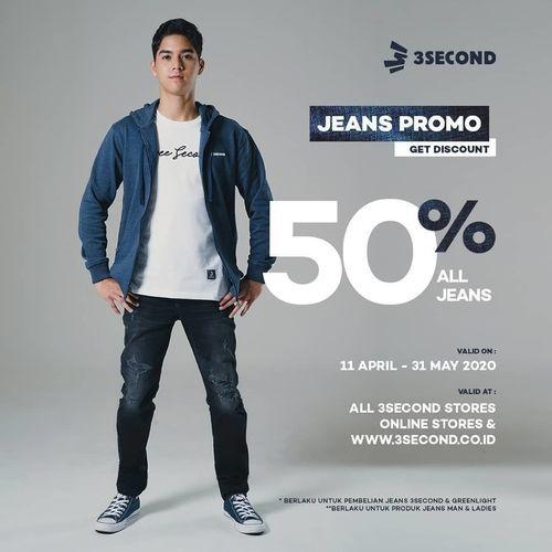 3Second Jeans Promo diskon 50% untuk setiap pembelian celana Jeans (25919143) di Kota Jakarta Selatan