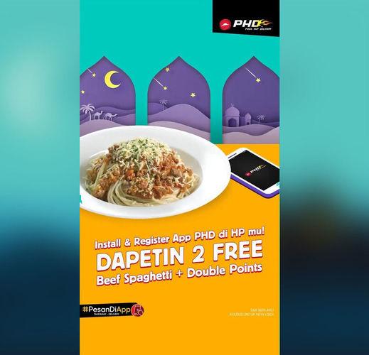PHD Promo 2 Free Beef Spaghetti + Double Points via APP PHD (25968959) di Kota Jakarta Selatan