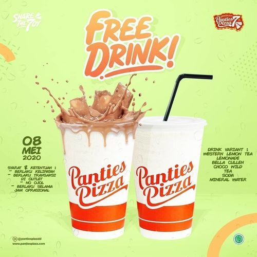 Panties Pizza Promo FREE DRINK setiap pembelian pizza (26015935) di Kota Jakarta Selatan