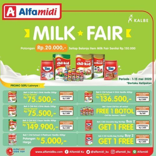 Alfamidi Milk Fair Promo Pembelian Rp 150.000 dapat potongan Rp 20.000 (26016623) di Kota Jakarta Selatan
