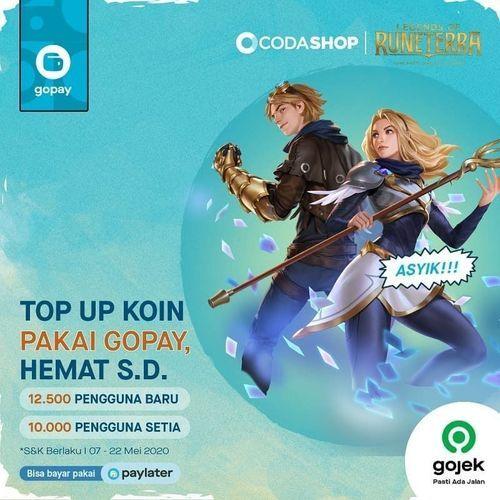 Codashop HEMAT S.D 12,500 TOP UP Koin Legends of Runeterra dengan GOPAY (26016727) di Kota Jakarta Selatan