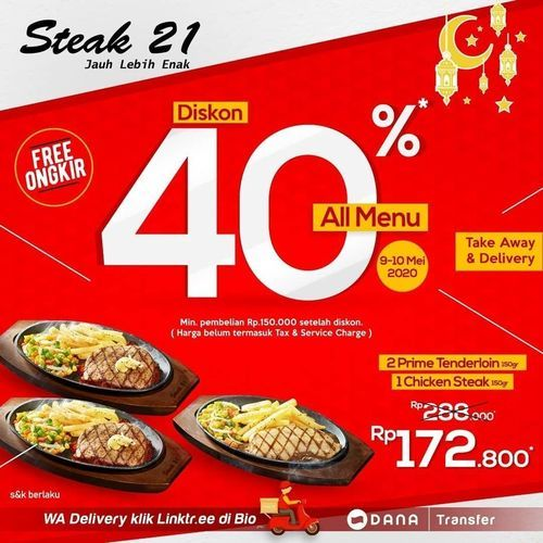 Steak 21 Diskon 40% All Menu (26025567) di Kota Jakarta Selatan