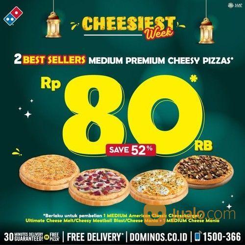 Domino Pizza 2 BEST SELLERS MEDIUM Premium Cheesy Pizza ONLY for 80K (26057819) di Kota Jakarta Selatan