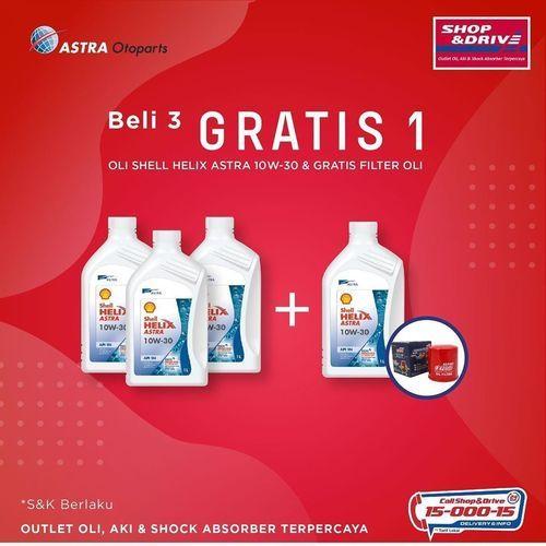 Shop And Drive Beli 3 Gratis 1 Shell Helix Astra 10W30 + Filter Oli (26094819) di Kota Jakarta Selatan