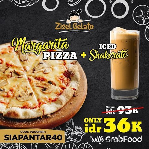 Zisel Gelateria PROMO Margarita Pizza + Iced Shakerato IDR 36K (26119511) di Kota Jakarta Selatan