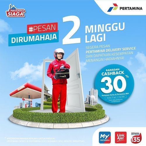 Pertamina Fuels Pesan Dirumah Aja Cashback 30% (26124199) di Kota Jakarta Selatan