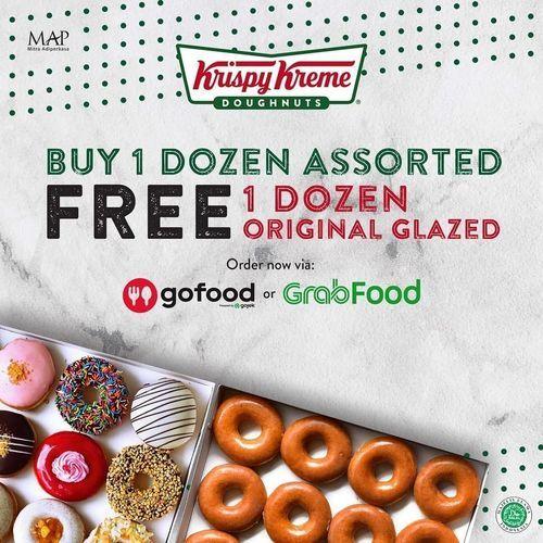 Krispy Kreme Buy 1 Dozen Assorted Free 1 Dozen Original Glazed (26125051) di Kota Jakarta Selatan