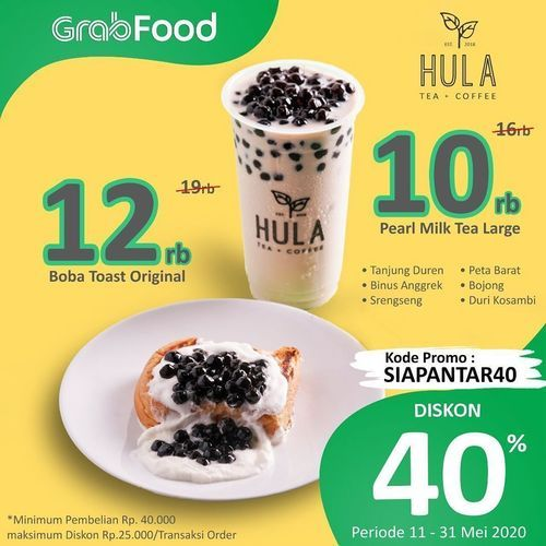 Hula Tea Diskon 40% Grabfood (26135015) di Kota Jakarta Selatan
