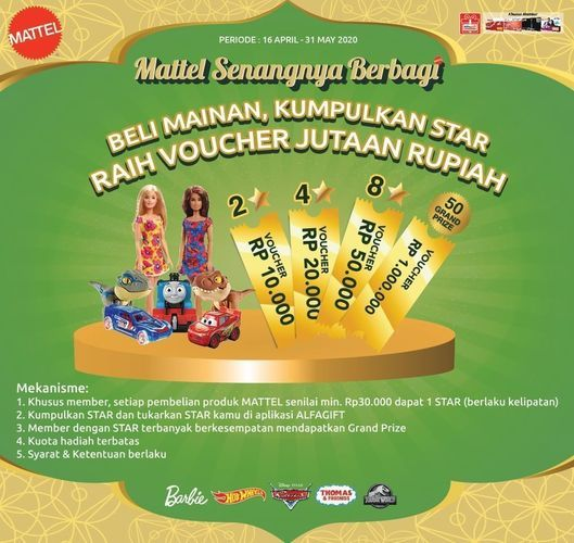 ALFAMART PROMO MAINAN ANAK DARI MATTEL DAPATKAN VOUCHER JUTAAN RUPIAH (26140911) di Kota Jakarta Selatan