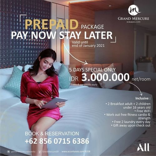 GRAND MERCURE SURABAYA CITY PAY NOW STAY LATER PREPAID PACKAGE (26140935) di Kota Surabaya