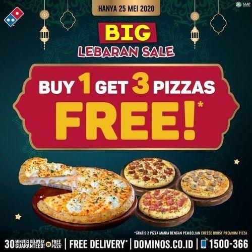 domino's GRATIS 3 Pizza Mania dengan pembelian Medium Cheese Burst Pizza (26155363) di Kota Jakarta Selatan
