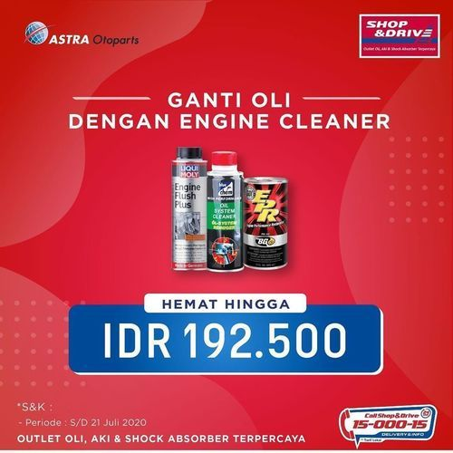 Shop And Drive Ganti Oli dengan Engine Cleaner Hemat Hingga 192.500. (26194195) di Kota Jakarta Selatan