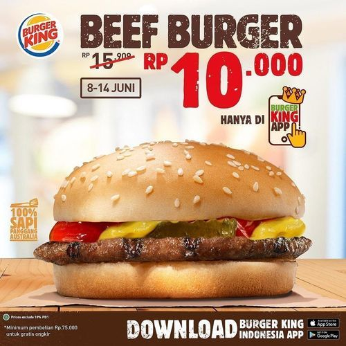 burger king PROMO BEEF BURGER 10K (26320331) di Kota Jakarta Selatan