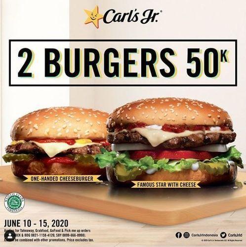 Carls Jr - Promo 2 Burgers 50k (26334291) di Kota Jakarta Selatan