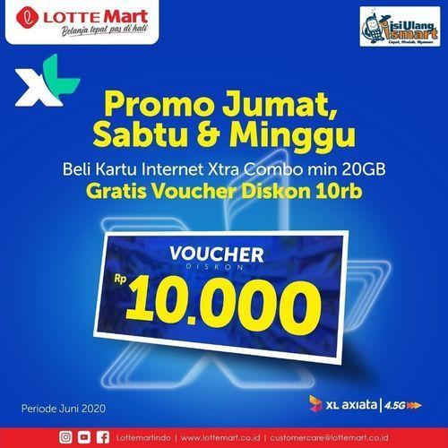 LOTTEMART PROMO JUMAT, SABTU, MINGGU BELI KARTU XL INTERNET COMBO GRATIS VOUCHER DISKON 10RB (26340559) di Kota Jakarta Selatan