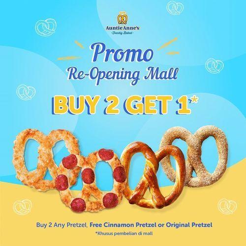 Auntie Anne's Promo Re-Opening Mall Buy 2 Get 1 (26390123) di Kota Jakarta Selatan