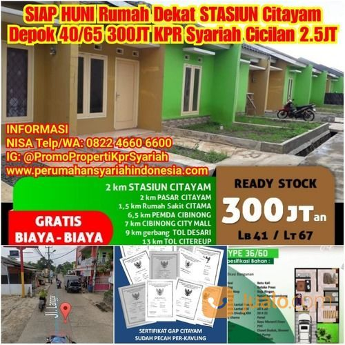 SIAP HUNI Rumah Dekat STASIUN Citayam Bogor 300 Juta SHM KPR Syariah 2.5JT (26485867) di Kota Bogor