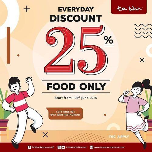 Ta Wan Everyday Discount 25% Off Food Only (26628151) di Kota Jakarta Selatan