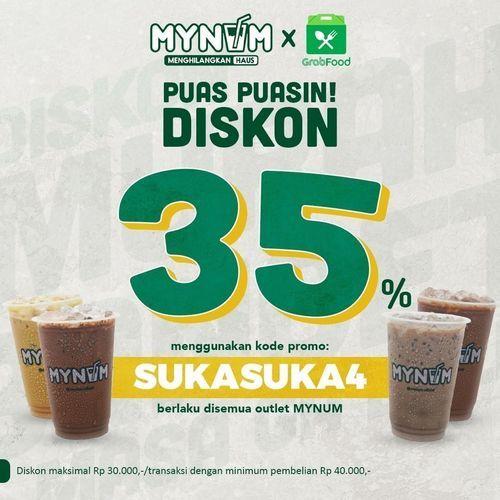 MYNUM PROMO DISKON 35% DI GRABFOOD BERLAKU DI SEMUA OUTLET MYNUM (26640015) di Kota Jakarta Selatan