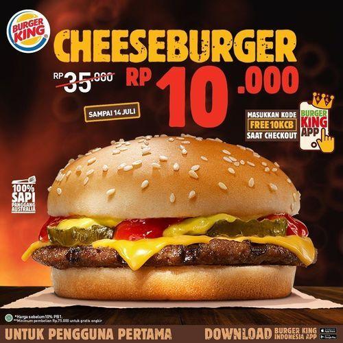 BURGER KING PROMO CHEESEBURGER CUMA 10.000 HANYA DI APPLIKASI (26743139) di Kota Jakarta Selatan