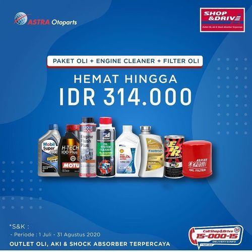 Shop And Drive Paket HEMAT Hingga Rp. 314.000, untuk Penggantian Oli 4 liter + Engine Cleaner + Filt (26745051) di Kota Jakarta Selatan