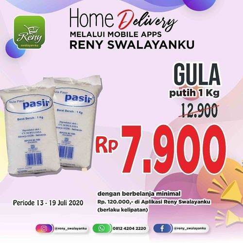 RENY SWALAYAN KU PROMO GULA PASIR PUTIH + HOME DELIVERY VIA APPS (26801399) di Kota Jakarta Selatan