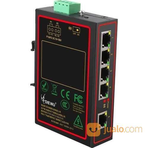 DIE WU 5 Ports Industrial Metal Case Ethernet Switch 10/100Mbps (27211863) di Kota Jakarta Pusat