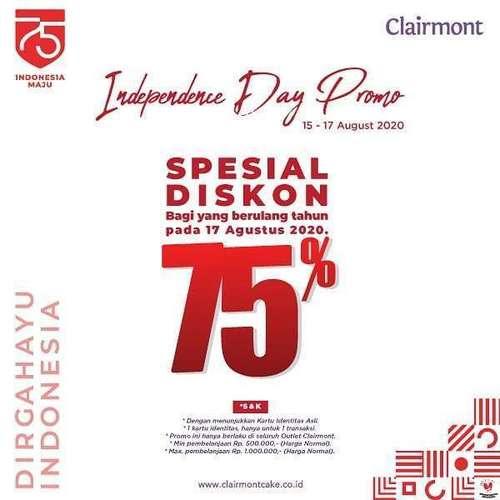 Clairmont Patisserie Independence Day Promo Spesial Diskon 75% (27253727) di Kota Jakarta Selatan