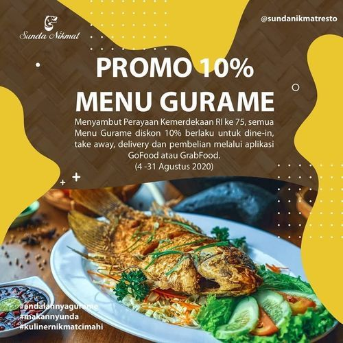 SUNDA NIKMAT RESTO CIMAHI PROMO GURAME AGUSTUS DISKON 10% (27259027) di Kota Bandung