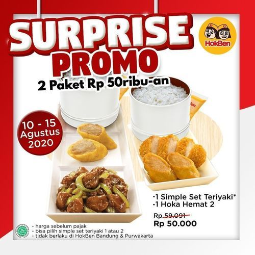 HokBen Surprise Promo 3 Paket Rp. 50 ribuan (27306299) di Kota Jakarta Selatan
