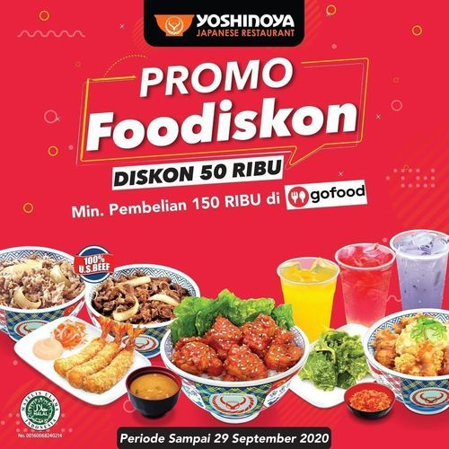 YOSHINOYA PROMO FOODISKON DISKON 50%* (27438087) di Kota Jakarta Selatan