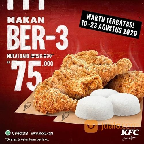 KFC PROMO MAKAN BER-3 MULAI DARI RP 75.000 (27466995) di Kota Jakarta Selatan