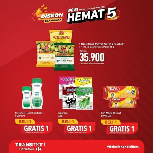 Transmart Carrefour Diskon Gila-Gilaan Hemat 5 Hari (27763215) di Kota Jakarta Selatan
