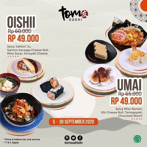 Tom Sushi Save up more with Oishi & Umai Package only Rp. 49.000 (27803915) di Kota Jakarta Selatan