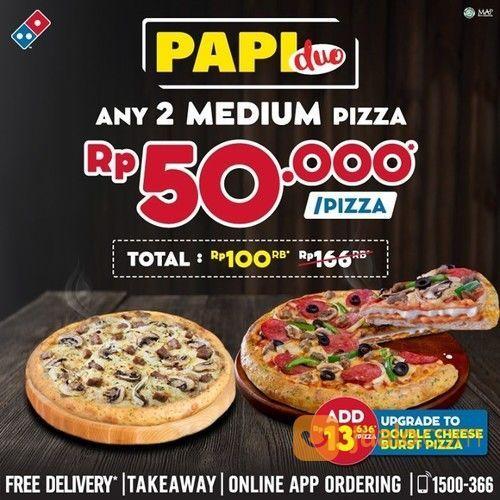 DOMINO'S PIZZA ANY 2 MEDIUM PIZZA 50K (27825099) di Kota Jakarta Selatan