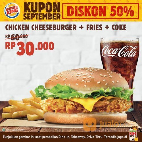KUPON SEPTEMBER BURGER KING DISKON 50% (27828599) di Kota Jakarta Selatan