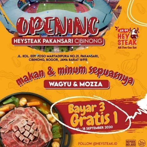HEY STEAK Promo Opening Bayar 3 Gratis 1 (27851835) di Kota Jakarta Selatan