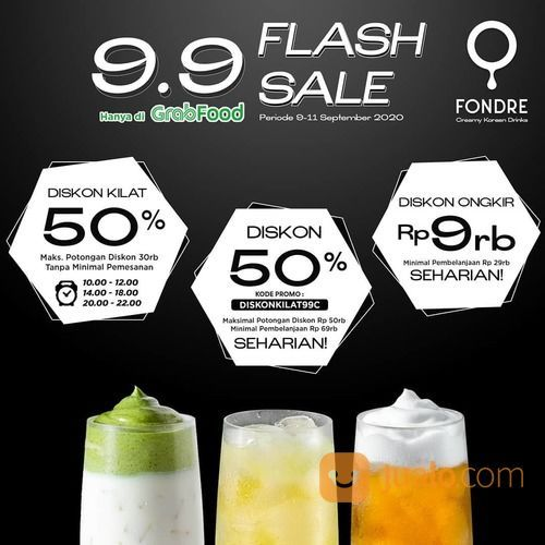 FONDRE CAFE 9.9 FLASH SALE KODE PROMO GRABFOOD (27862007) di Kota Jakarta Selatan