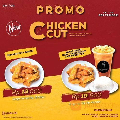 GOON.ID PROMO CHICKEN CUT PAKET HEMAT + NASI & iCE SWEET TEA (27886739) di Kota Jakarta Selatan
