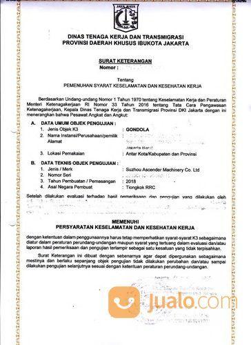 Jasa Pembuatan Dan Perpanjangan Surat Izin Layak Operasi Izin Alat Gondola Disnaker (27923315) di Kota Bekasi