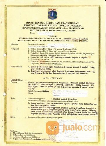 Jasa Sertifikasi Surat Izin Layak Operasi Izin Alat Spider Lift Disnaker Provinsi (27923471) di Kota Bekasi