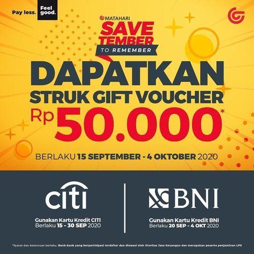 Matahari Savtember Gift Voucher Rp. 50.000 (28081427) di Kota Jakarta Selatan